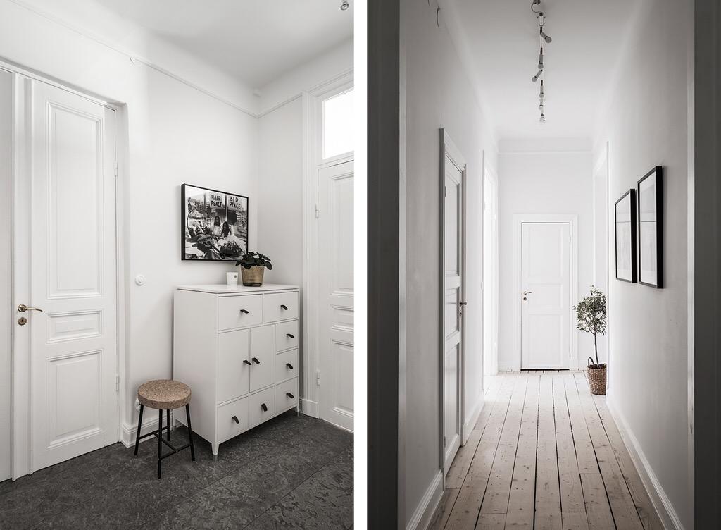 коридор двери деревянный пол плитка комод табурет фрамуга