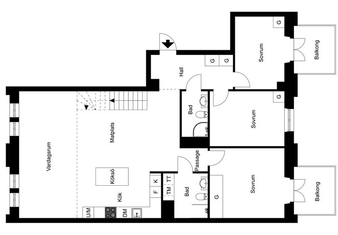 планировка-двухуровневая-квартира-174квм