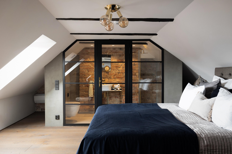 спальня мансарда перегородка ванная комната