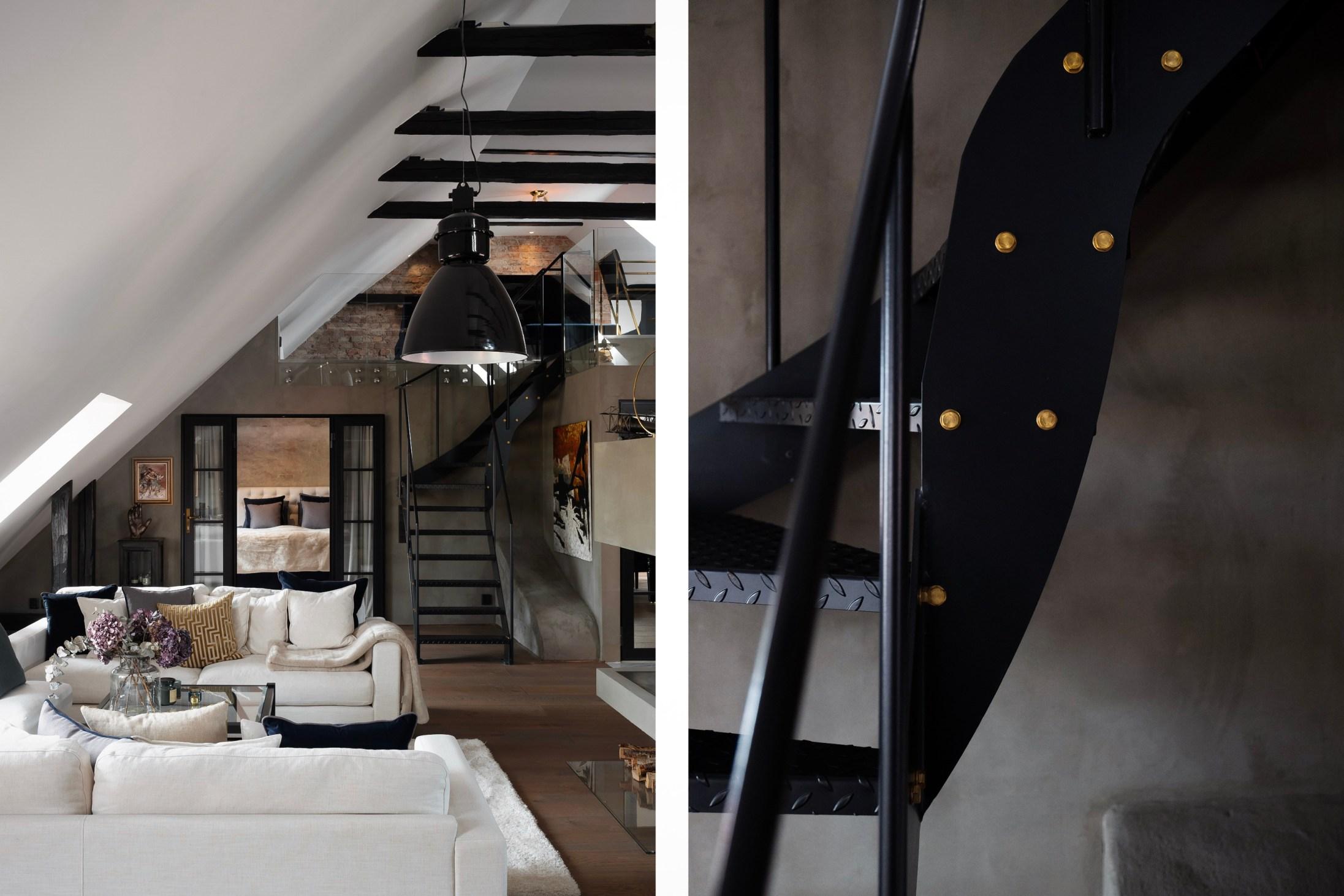 лестница балки мансарда
