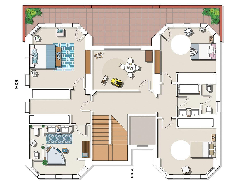 планировка загородного дома с бассейном