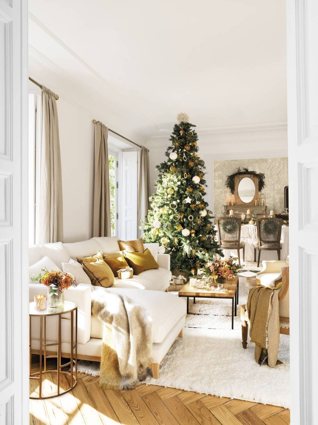 новогодний декор в гостиной
