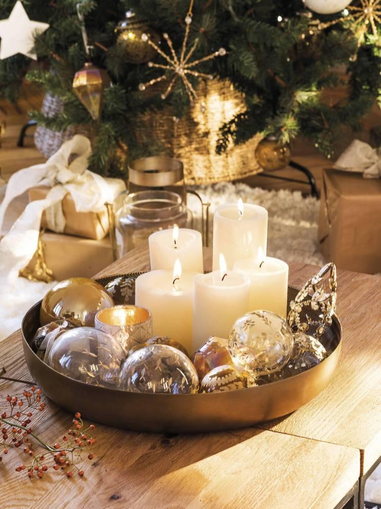 новогодний декор свечи в тарелке