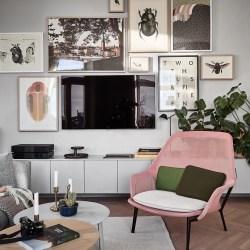 гостиная стены галерея телевизор