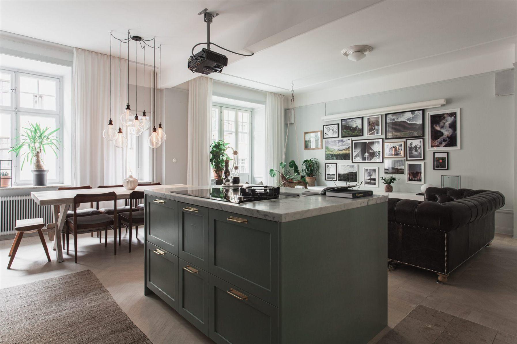 квартира 67 квм кухонный остров гостиная
