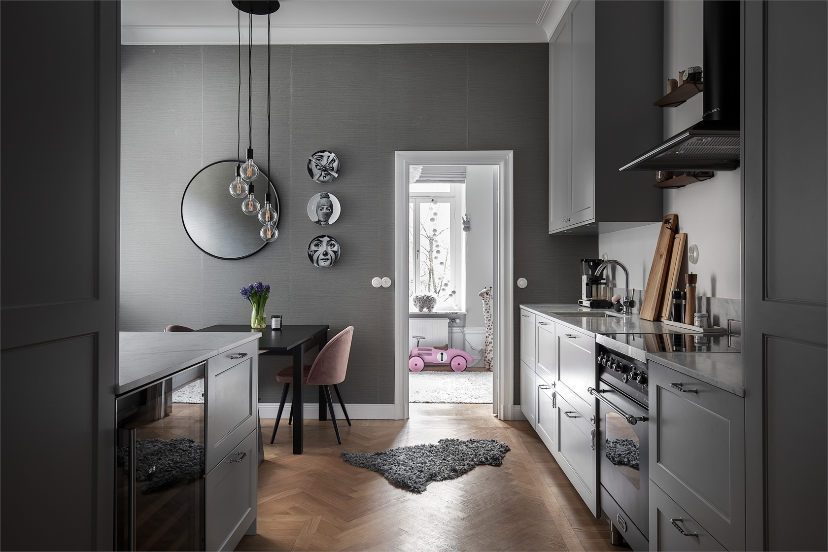 28606 kitchen gray walls gray cabinets