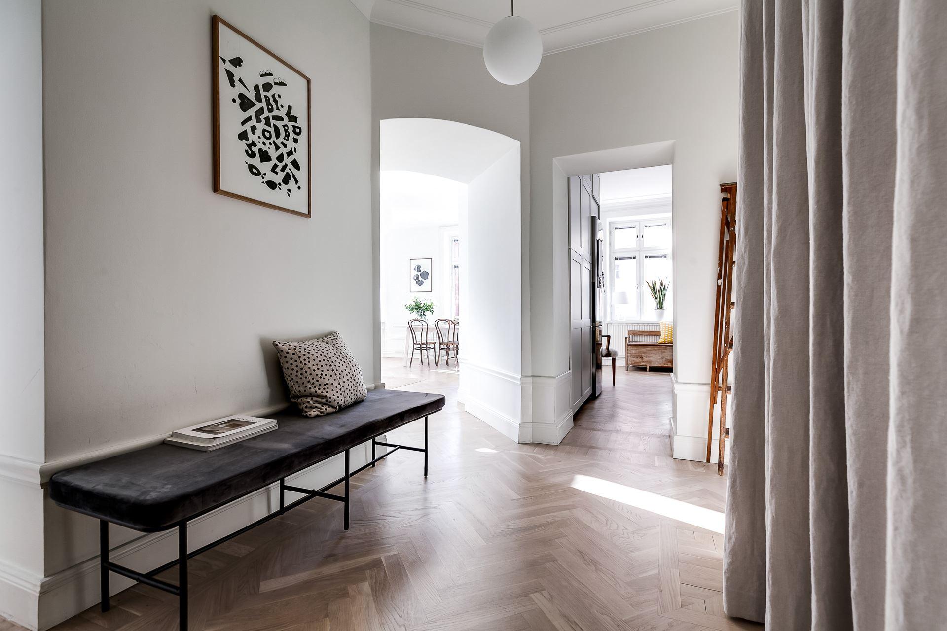 hallway bench parquet flooring