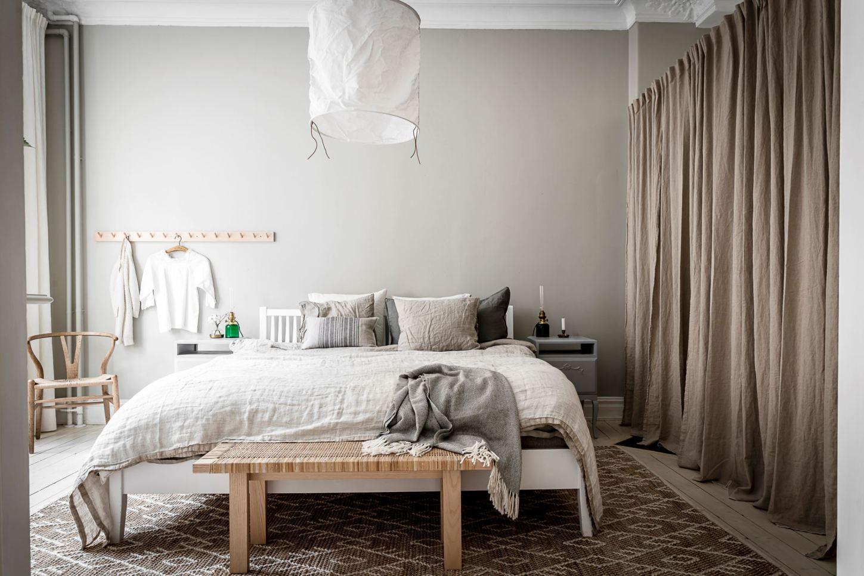 beige bedroom curtain wardrobe