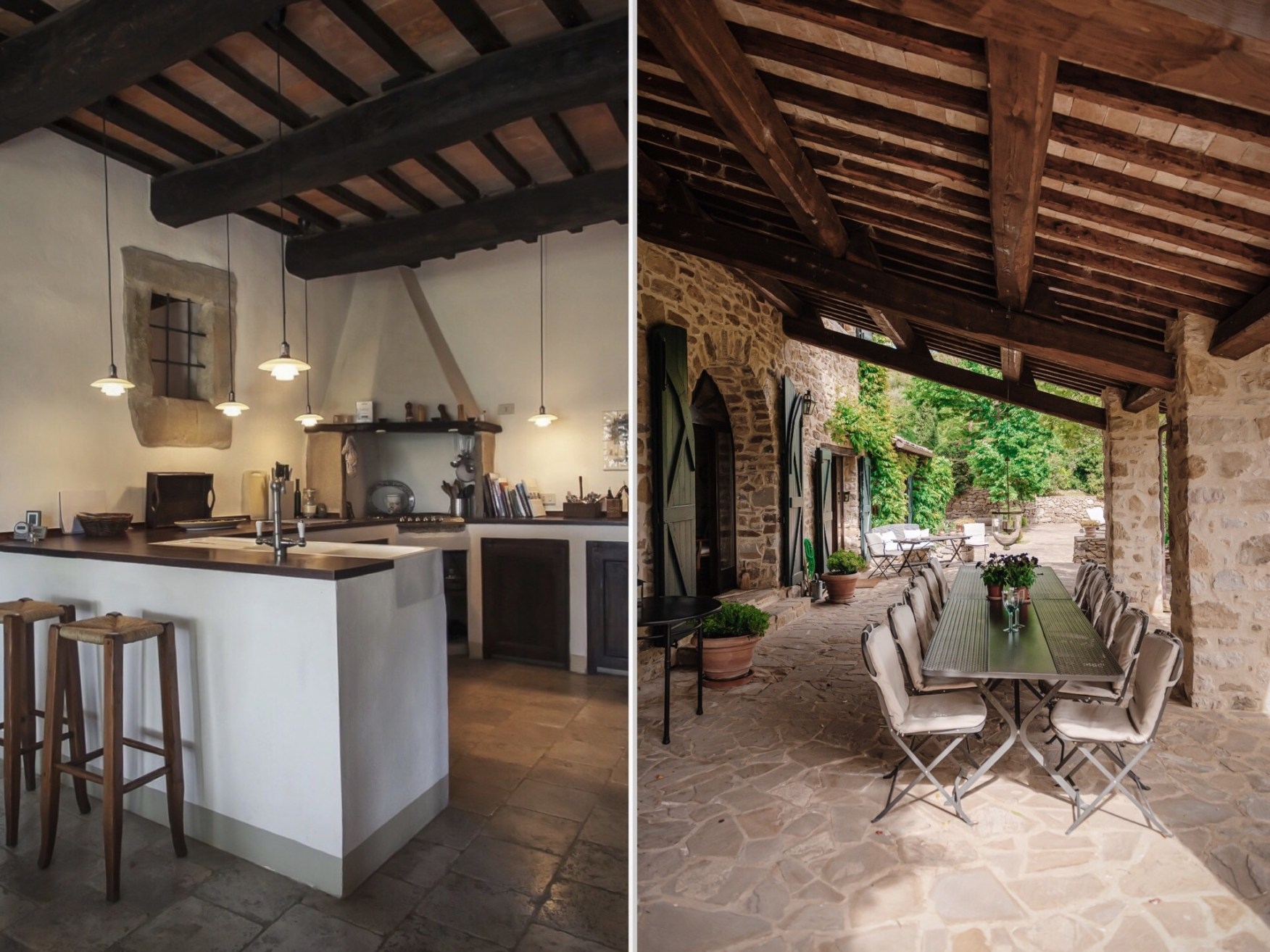 stone house kitchen and terrace
