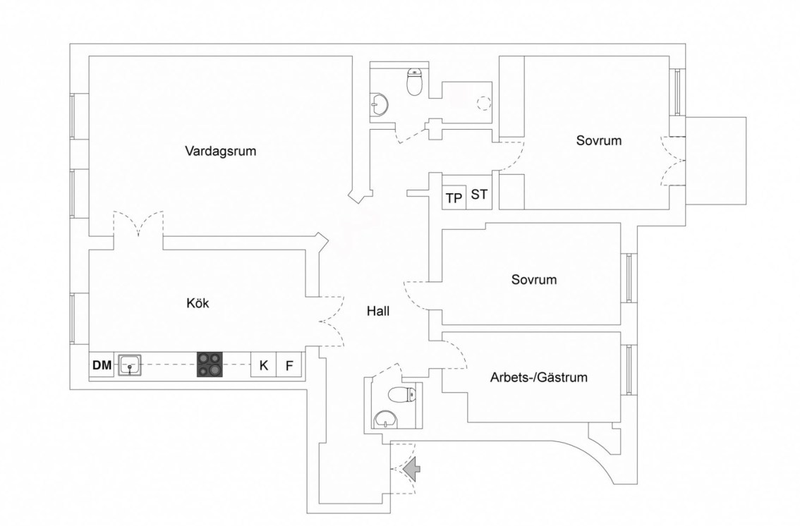 116 sqm apartment floor plan