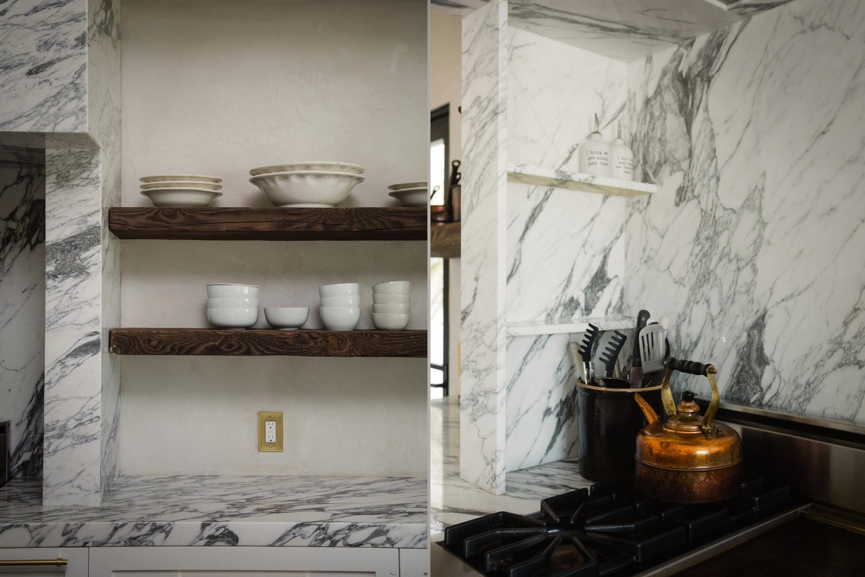 kitchen shelves marble countertops
