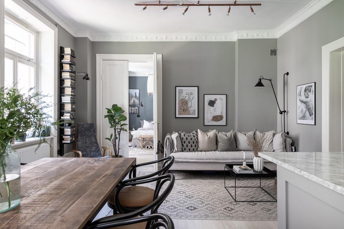 living room grey walls