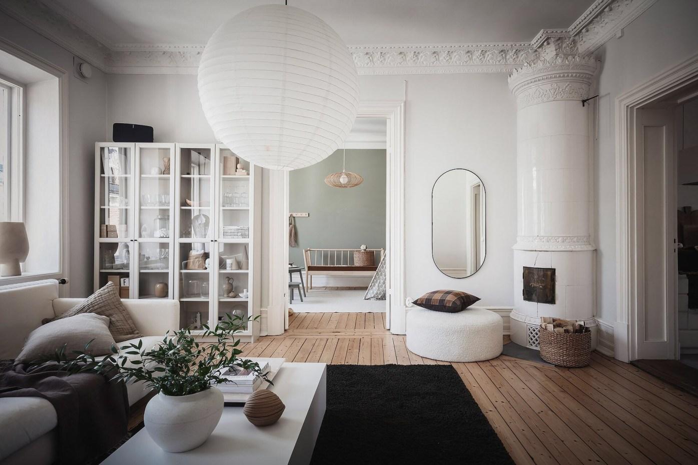 living room white stove