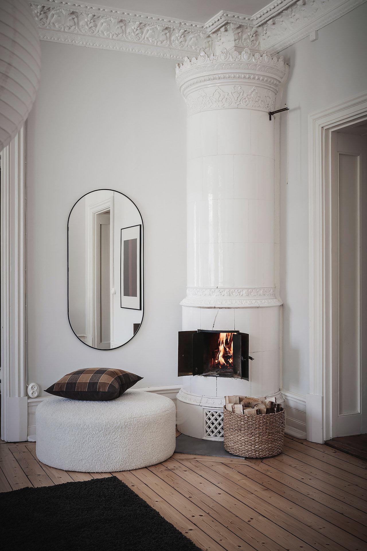 white scandinavian stove