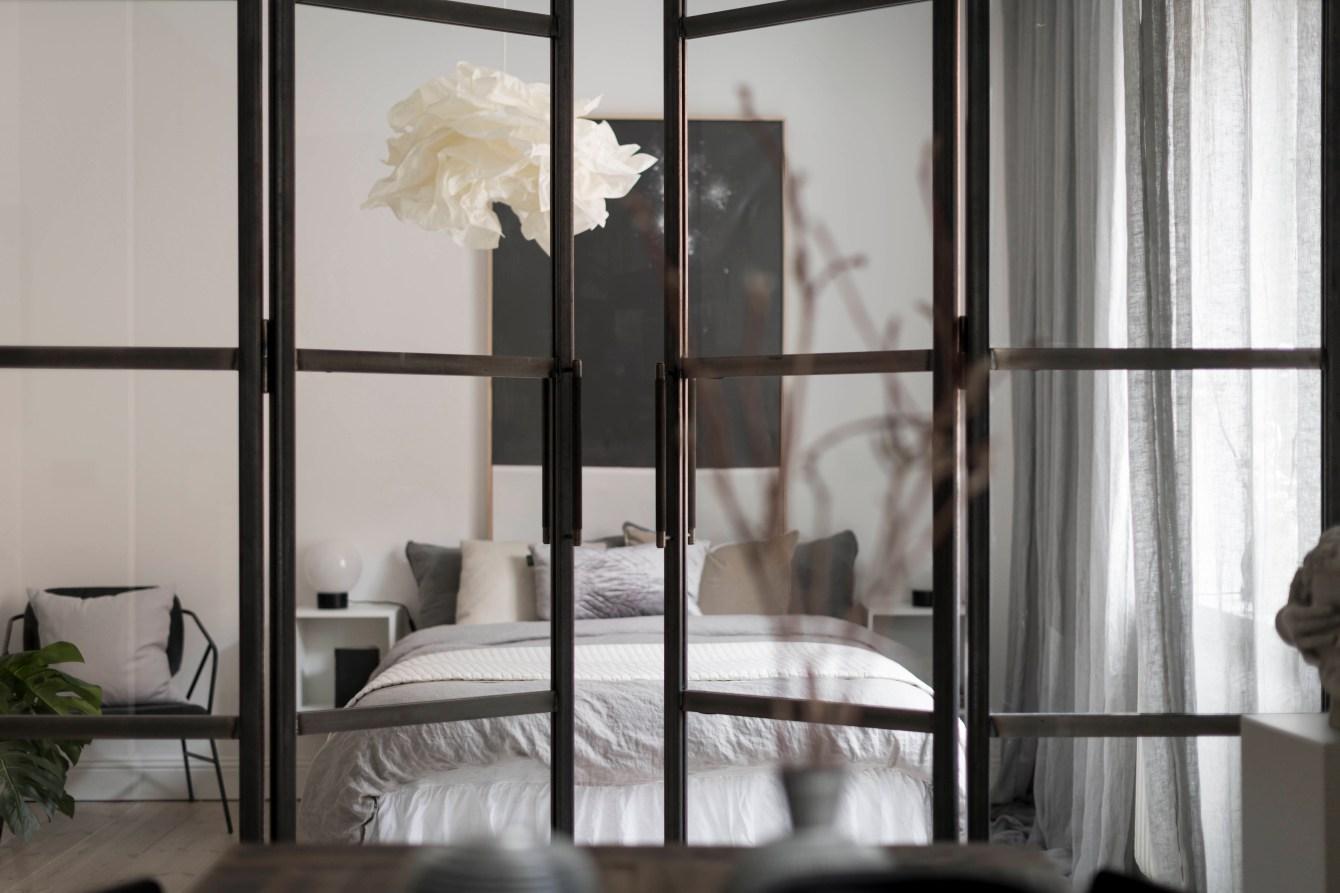 bedroom glass doors partition