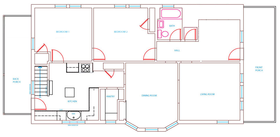 30x40 house plans First story floor plan with two bedroom