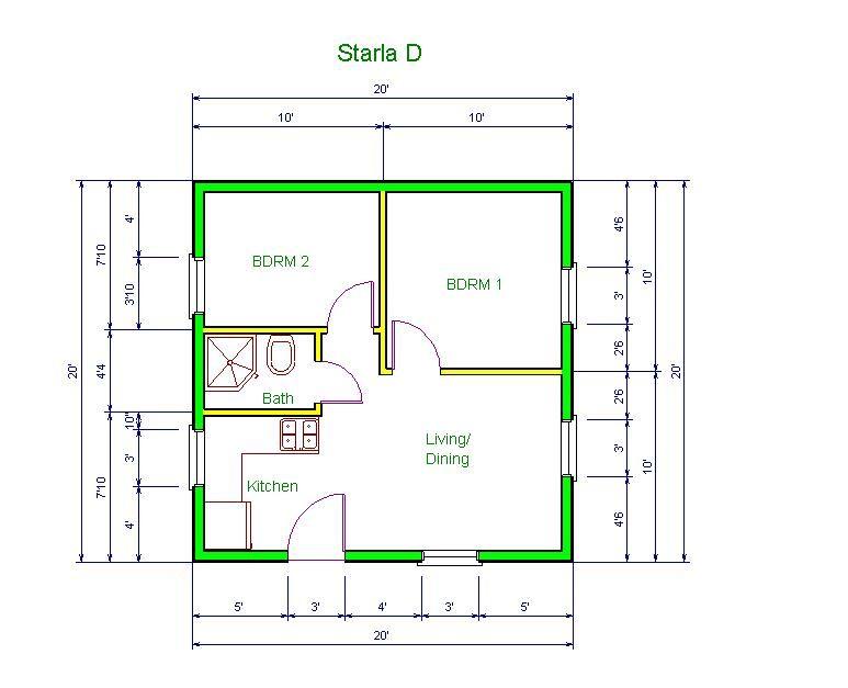 minimalist tiny house plans 20x20