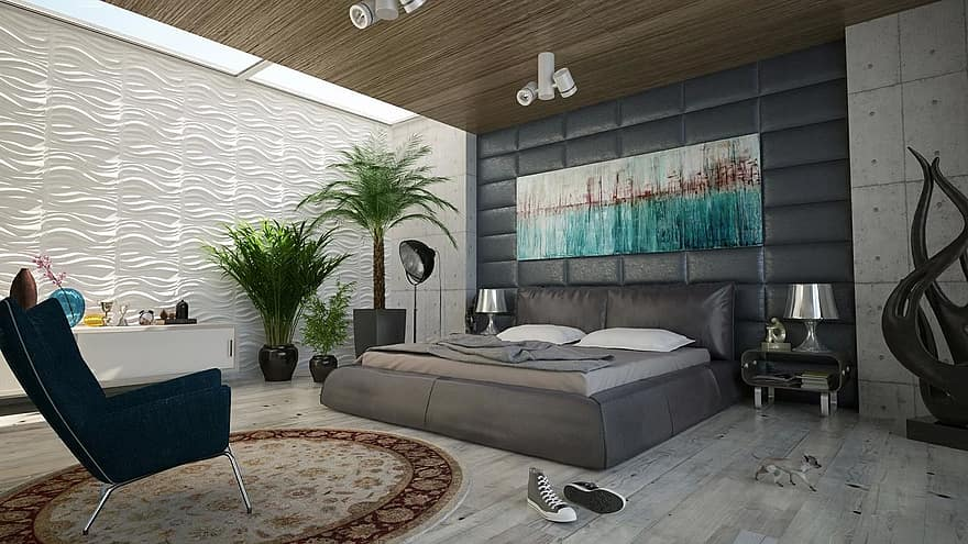 bedroom bed wall decoration design room