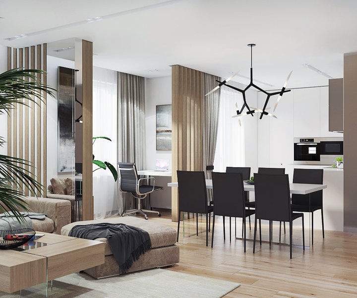 Relaxing Contemporary Style Family Apartment In Beige