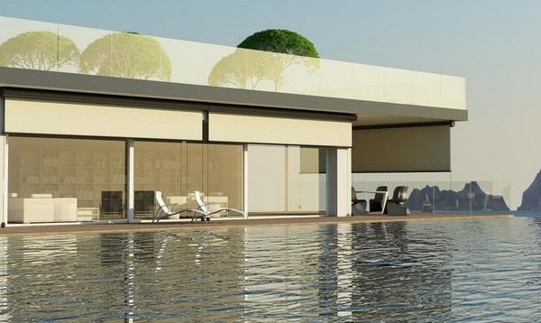 Sunscreen blinds patio roof shield modern House