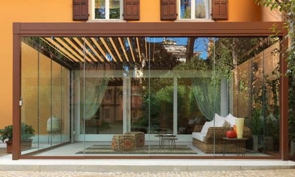 Sunscreen roof Pergola glazed metal frame