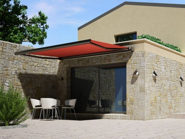Sunshade awning patio red roof examples