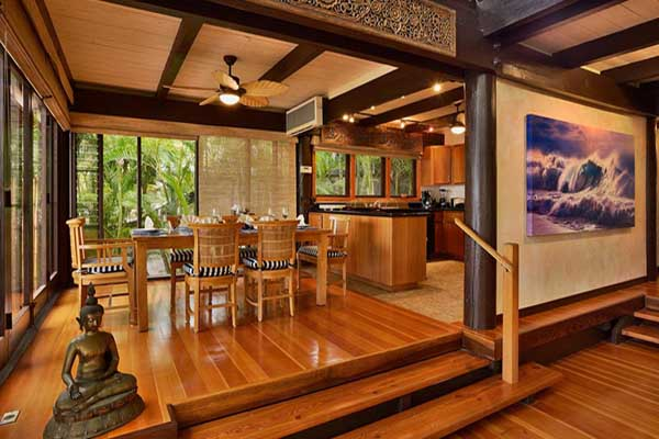 Create a canopy shaped false ceiling in wood for your bedroom and use bamboo poles to accentuate the window and door frames. 20 Tropical Home Decorating Ideas, Charming Hawaiian Decor