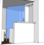 La opción de hacer un boquete en la pared del actual despacho y que este boquete diera servicio a la recepción se descartó por falta de espacio en ese despacho para 2 puestos y un director