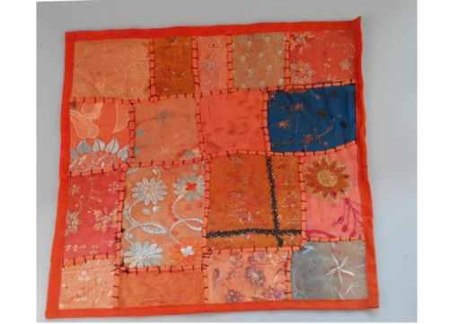 cojín naranja india patchwork