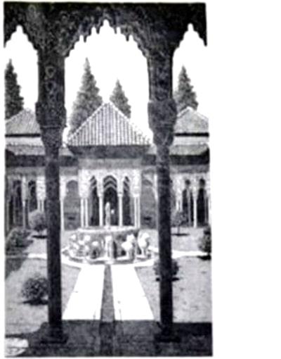 grabado artístico del patio de los Leones, Alhambra