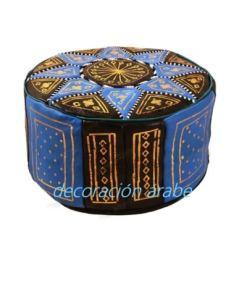 puff piel árabe marroquí celeste negro