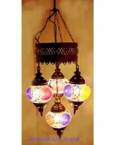 lámpara mosaico turca 4 bolas