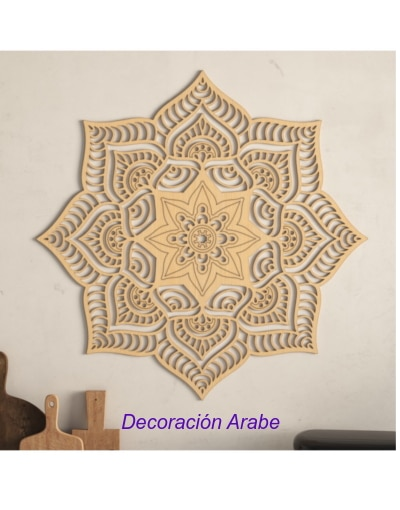 mandala decorativo floral pared de madera