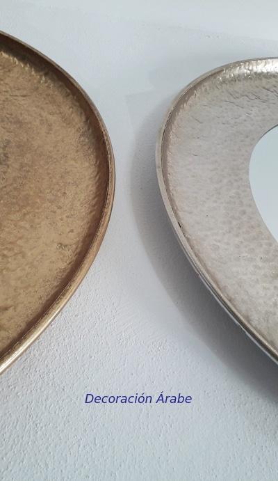espejos dorados y palateados redondos
