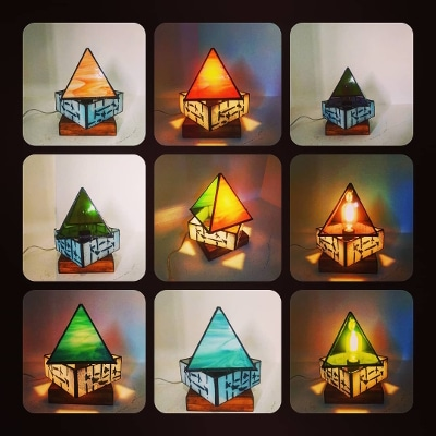 lámpara artesana sobremesa cristal y metal