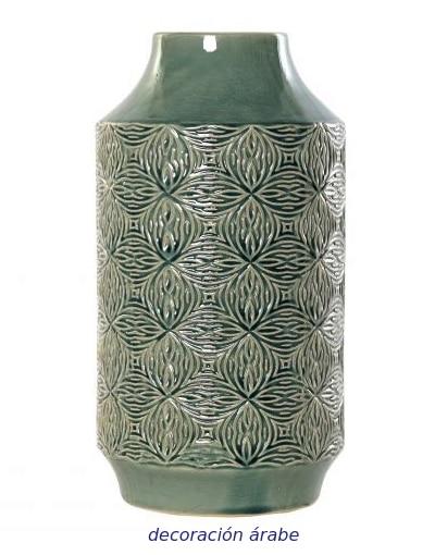jarrón verde porcelana