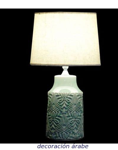 lámpara de mesa cerámica verde