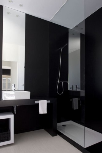 bathroom with black walls
