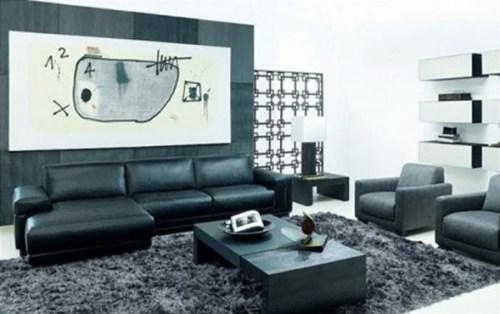 sala sofa de cuero negro