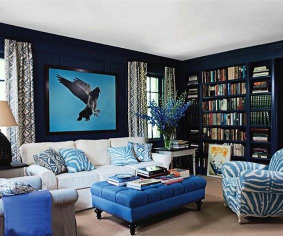 colores de pared azul para sala de estar 15 Refrescantes Diseos De Salas En Color Azul