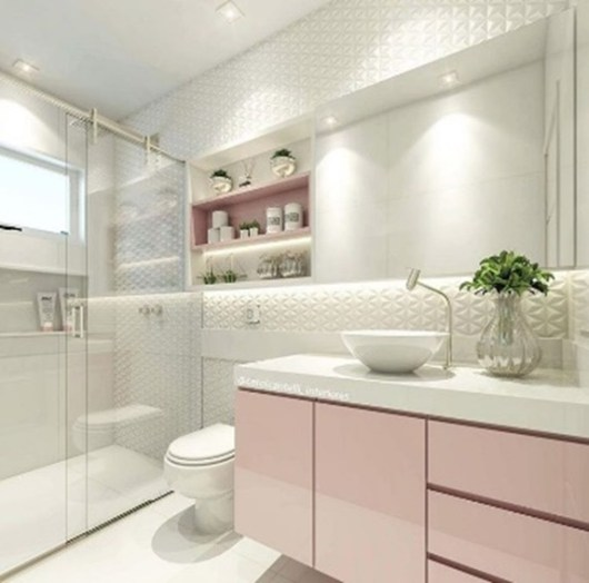 Bathroom with Pink Cabinet