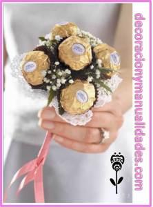 ramo de novias de chocolates
