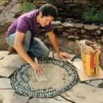Mosaico de piedras para ornamentar lugares de exterior