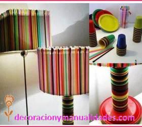 lamparas con desechables de colores