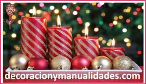 velas navideñas decoradas con brillantina