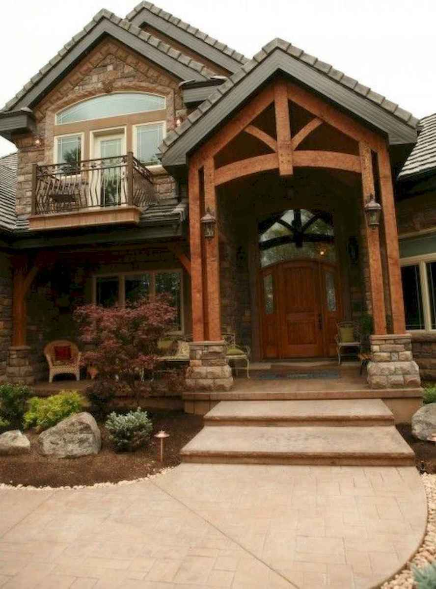 49 Beautiful Wooden and Stone Front Porch Ideas