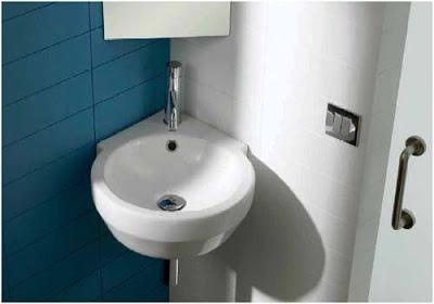 Cuarto de ba o peque o pon el lavabo en la esquina - Lavabo de esquina ...