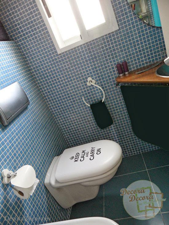 Keep Calm and Carry On para decorar el baño
