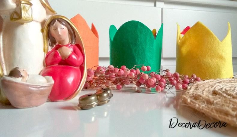 Coronas de los Tres Reyes Magos con fieltro