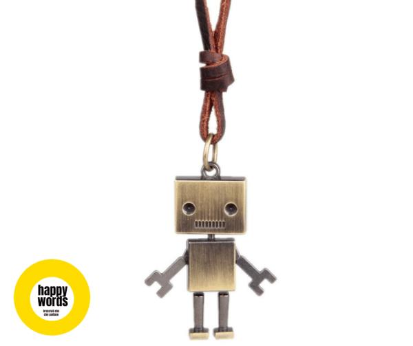 collana cuoio charm robot